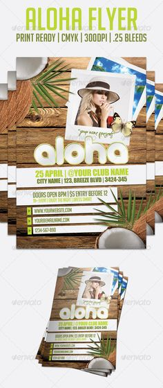 Buy Aloha Flyer - Flyer Template by CreatedByJerome on GraphicRiver. With this modern Hawaii style flyer template you will have no trouble getting your party guests into the summer mood. Sun Template, Flyer Template, Document File, Hawaii Style, Flyer Printing, Polaroid Photos, Party Poster, Party Guests, Print Templates