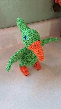 Crochet Amigurumi Pterodactyl Green Dinosaur