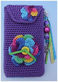 Clutch En Crochet, Crochet Wallet, Crochet Gifts, Mobiles En Crochet, Crochet Mobile, Cell Phone Pouch, Cell Phone Covers, Crochet Handbags, Crochet Purses