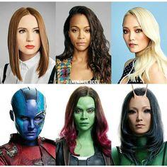 Karen Gillan as Nebula, Zoe Saldana as Gamora, & Pom Klementieff as Mantis Marvel Actors, Marvel Funny, Marvel Dc Comics, Marvel Heroes, Marvel Characters, Marvel Movies, Marvel Avengers, Hawkeye Marvel, Marvel Women