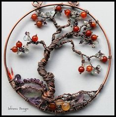 Gemstone and Wire Bonsai Tree Of Life Suncather with Austrian