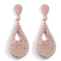 Sterling Silver Roseold Cubic Zirconia PearDangle Earrings Post Back 10.2g 1.70x0.6