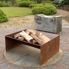 Chunk Welded Steel Fire Pit - Are you interested in our Contemporary metal fire pit? With our Artisan fire pit you need look no fu - Metal Fire Pit, Concrete Fire Pits, Diy Fire Pit, Fire Pit Backyard, Concrete Pavers, Steel Fire Pit Ring, Chiminea Fire Pit, Wood Burning Fire Pit, Fire Fire