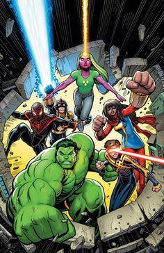 Hulk (Amadeus Cho), Cyclops (past), Ms. Marvel (Kamala Khan), Viv, Nova (Sam Alexander) & Ultimate Spider-Man (Miles Morales) (Champions vol.2 #3 variant cover) Art by Arthur Adams