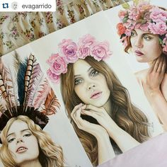 #Portraits by @evagarrido feature tag  #inspiringpieces - #flowers #roses #girl #beauty #art #inspiration #inspiring #face #drawing #portrait
