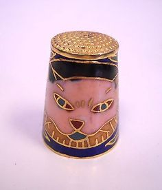 RARE Vintage Enamel Thimble w Cat Gold Tone Outline.