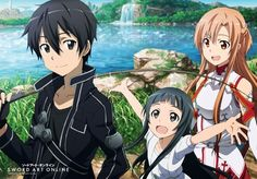 Store en tissu (Wall Scroll) - Sword Art Online (SAO) Vol.2 - Kirito, Yui et Asuna