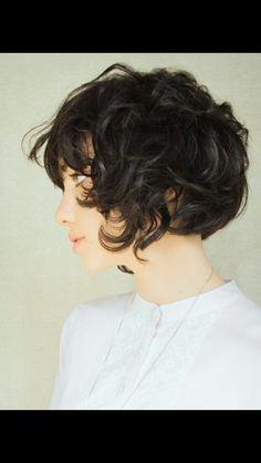 Curly wavy chin length bob