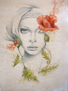 Oblivium  by Erica Calardo #flower #art #drawing