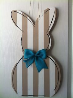 Striped Easter Bunny Wooden Door Hanger by PinkWhimsyCollection on Etsy https://www.etsy.com/listing/268337432/striped-easter-bunny-wooden-door-hanger