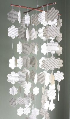 Re-purposed Book Flower Mobile