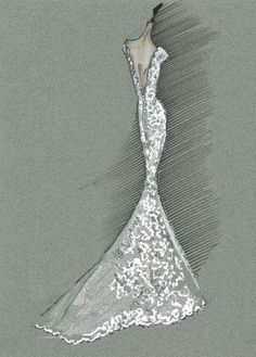 Bridal Gown Sketch Carolina Herrera #fashion
