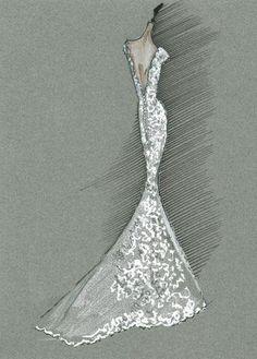 Bridal Gown Sketch Carolina Herrera #fashion