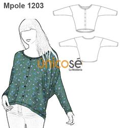 POLERA CON BOTONES MUJER Blouse Patterns, Sewing Patterns, Diy Fashion, Womens Fashion, Pattern Drafting, Diy Clothing, Fit Women, Sewing Crafts, Couture