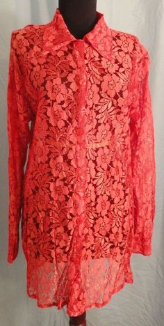LOLA LOLA S Top Shirt Salmon Orange Floral Lace SHEER by Elegant Additions Tunic #LolaLolabyElegantAdditions #ButtonDownShirt #Clubwear