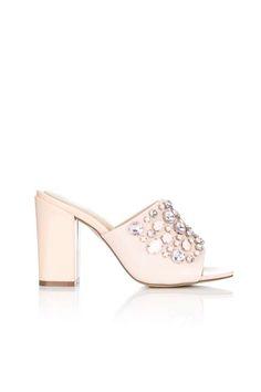Pink Block Heel Mule Sandal