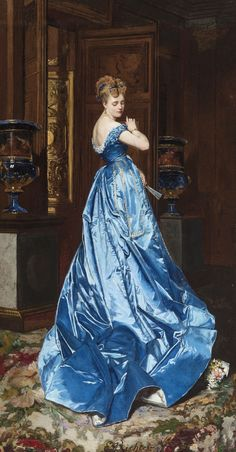La Robe Bleue (The Blue Dress) Edouard Frederic Wilhelm Richter Victorian Paintings, Victorian Art, Old Paintings, Beautiful Paintings, Illustration Mode, Illustrations, Renaissance Kunst, Classical Art, Historical Costume