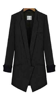 Lingswallow Womens Long Sleeve Slim Blazer Long Lapel Trench Coat Jacket Brown * Want to know more, click on the image.