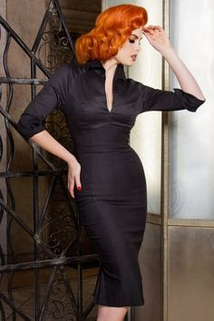 Pinup Couture 50s Black Pencil Pinup Dress  100 10 14874 1