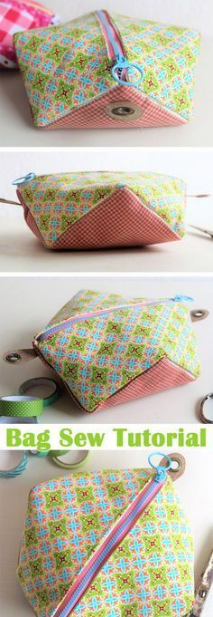 zipper Bag DIY Tutorial http://www.free-tutorial.net/2017/10/square-pocket-bag-tutorial.html