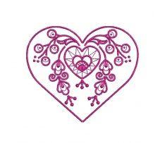 Výšivka Vajnory - srdce, 10x9 cm