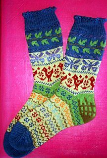Carol's Garden Socks by Terry Morris Fair Isle Knitting, Loom Knitting, Knitting Socks, Hand Knitting, Knitting Patterns, Knit Socks, Crochet Patterns, Love Crochet, Knit Crochet