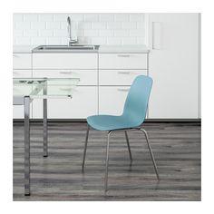 LEIFARNE Chair, light blue, Broringe chrome plated