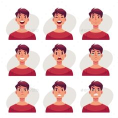 Young man face expression, set of cartoon vector illustrations isolated on gray background. Handsome boy emoji face icons, human e