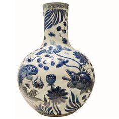 Globular Vase, Carved Fish