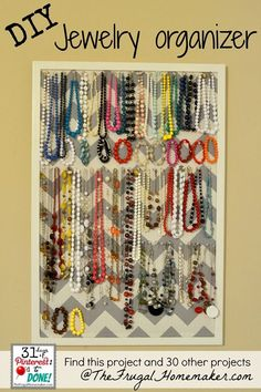 diy jewelry organizer made of fabric | DIY Jewelry Organizer (day 15 of 31 days of Pinterest: Pinned to Done ...
