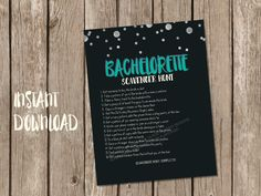 Printable bachelorette scavenger hunt game / bachelorette game / hen party game / bachelorette printable / scavenger hunt / drinking game by PrettyPrintablesInk on Etsy