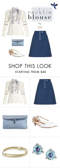 """""""Fall Trend: Necktie Blouse"""" by ice058 ❤ liked on Polyvore featuring Peter Pilotto, TradeMark, Burberry, Francesco Russo, David Yurman and Kate Spade"""