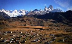 Patagonia: A view of El Chalten's clapboard houses and campsites  (See W. H. Hudson, Idle Days in Patagonia)