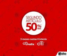 Aprovechá hasta el 20 de Mayo la promoción del segundo artículo a 1/2 de precio utilizando tu tarjeta de Credix o Citi a 3 cuotas mensuales 0% interés   *Aplican restricciones*