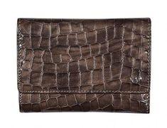 Geldbörse Lackleder Taupe Cayenne Golden Head Leder Kroko - Bags & more Header, Rind, Outdoor Blanket, Taupe Colour, Pocket Wallet