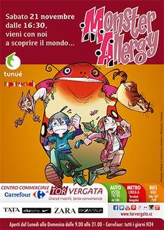 Sabato 21 Novembre, dalle 16:30 vieni con noi a scoprire il mondo di Monster Allergy.