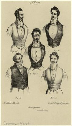 | lostsplendor: Men in Vests and Neckties, c. 1834 via NYPL | I love the gentleman in the center! I feel like I would be good friends with him.. Yes, I can see us chatting in my head right now. I think I'll frame this sketch and put it in my room!