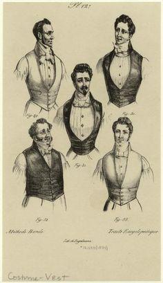 lostsplendor:    Men in Vests and Neckties, c. 1834 via NYPL