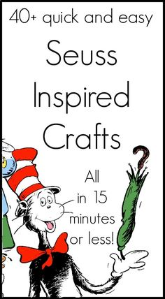 Seuss Crafts in 15 Minutes or less is part of Preschool crafts Dr Seuss - Amazing Dr Seuss crafts that all take 15 minute or less to complete Enjoy these quick and easy crafts with your kids or classroom Dr. Seuss, Dr Seuss Week, Dr Seuss Activities, Book Activities, Sequencing Activities, Steam Activities, Activity Ideas, Toddler Activities, Craft Ideas