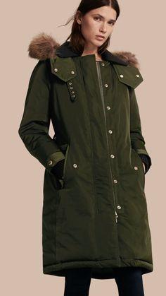 Down-filled Parka Coat with Detachable Fur Trim in Dark Cedar Green - Women | Burberry