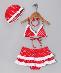 Look what I found on #zulily! Red & White Polka Dot Skirted Bikini & Beanie - Toddler & Girls by Diva Beach Baby #zulilyfinds
