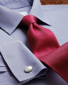 Red silk classic natte tie
