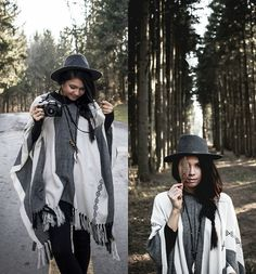 Get this look: http://lb.nu/look/7948754  More looks by Jessica B.: http://lb.nu/rusticbones  Items in this look:  Catori Life Necklace, Express Poncho   #artistic #bohemian #casual #poncho #sweater #oversized #fedora