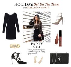 """""""Holiday: Out On The Town with Marianna Hewitt"""" by bluefly ❤ liked on Polyvore featuring mode, Christian Louboutin, Olive + Oak, Ellie Vail et Kacey K Fine Jewelry"""