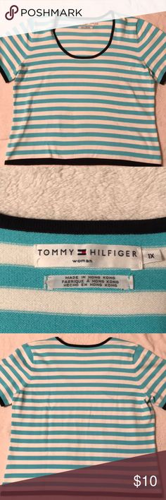 🌺 Tommy Hilfiger woman's size 1X sweater 🌺Tommy Hilfiger light blue and white striped short sleeve sweater with dark blue bordering. Size 1X. Never worn. No rips or tears. I did notice a small blemish on the front. It is not really noticeable and may come out! This shirt was never worn, so it is something from storing. Price reflective. Lost a lot of weight and can't wear. Offers accepted. (No low offers, PLEASE!) Tommy Hilfiger Sweaters Crew & Scoop Necks