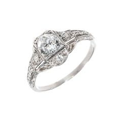 Art Deco Old European Cut Diamond Platinum Ring   From a unique collection of vintage engagement rings at http://www.1stdibs.com/jewelry/rings/engagement-rings/