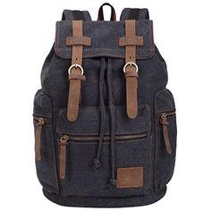 Egooo Men's Travel Backpack Bag Canvas Leather Bag (Black) - LEARN MORE @ http://www.wolverinetravel.com/Travel_Items/100074/aig