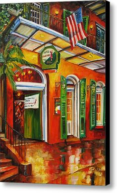 Diane Millsap Solid-Faced Canvas Print Wall Art Print entitled Pat O'Brien's on Bourbon Street New Orleans Decor, New Orleans Art, Painting Prints, Wall Art Prints, Canvas Prints, Canvas Paintings, Original Paintings, Framed Prints, New Orleans Bourbon Street