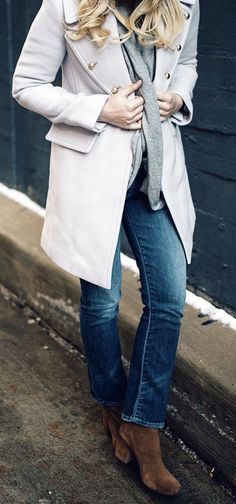 THE BOOTS #winter #fashion /  White Coat / Grey Scarf / Bleach Denim / Brown Suede Booties