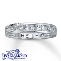 Dazzling princess-cut Leo Diamonds grace this timeless anniversary band for her. A total of one carat diamond weight is set in stunning 14K white gold. This fine jewelry ring features independently certified diamonds, and the unique laser-inscribed Gemscribe® serial number ensures your peace of mind.